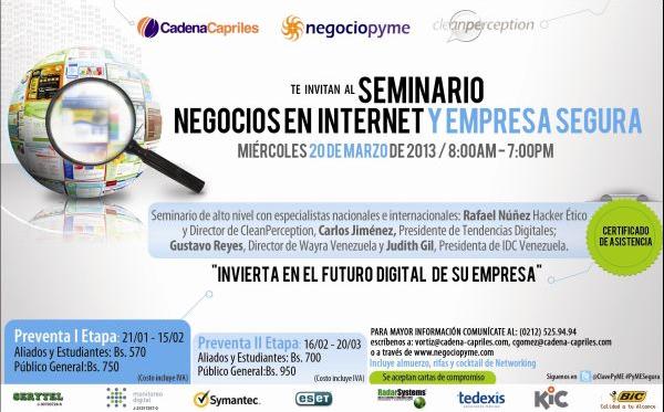 Cadena Capriles, CleanPerception y Negociopyme organizan Seminario: Negocios en Internet y Empresa Segura